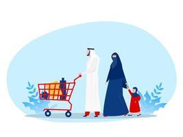 família muçulmana às compras com carrinho de compras rodando no supermercado. ilustração vetorial para varejo, estilo de vida, conceito de povo árabe vetor