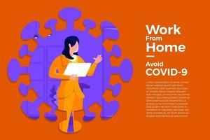 trabalhar em casa para evitar covid-19 vetor