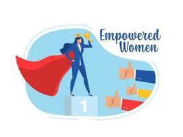 sucesso de mulher de negócios com mulher empoderada. vitória. sucesso. conceito de carreira de liderança