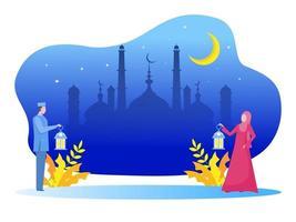 jovem muçulmano e uma mulher trazem uma lâmpada e caminham até a mesquita. ilustração em vetor ramadan kareem