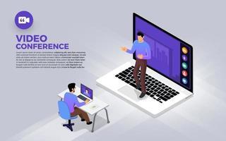 equipe fazendo videoconferência online vetor