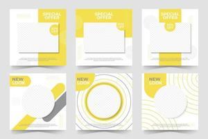 conjunto de modelo de banner quadrado mínimo editável. postagem em mídia social e anúncios de internet na web