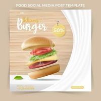 modelo de banner quadrado mínimo editável. postagem de comida ou culinária nas redes sociais e anúncios na Internet na web. ilustração vetorial com hambúrguer realista