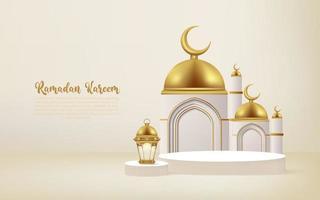 Fundo 3D Ramadan Kareem com lâmpada dourada e pódio.