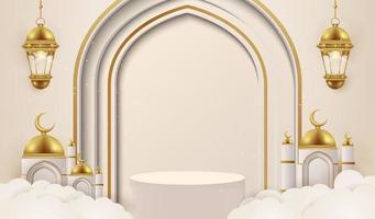 Fundo 3D Ramadan Kareem com lâmpadas douradas e pódio.