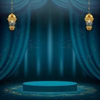 Banner 3D Ramadan Kareem com cortinas verdes e pódio
