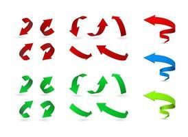 seta dobrada conjunto de ícones 3d
