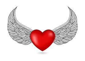 ícone 3d de coração com asas vetor