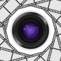 ícone 3d de lente de câmera fotográfica no quadro da bobina de filme