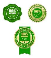 conjunto de etiqueta verde de produto natural vetor