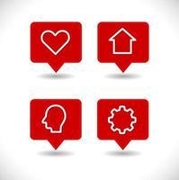 pino de ponteiro de mapa com conjunto de ícones de coração, casa, engrenagem e cabeça humana