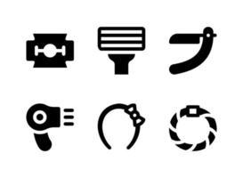conjunto simples de ícones sólidos vetoriais relacionados à beleza vetor
