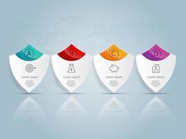 infográficos de linha do tempo de escudo horizontal abstrato, 4 etapas com modelo de mapa mundial para negócios e apresentação