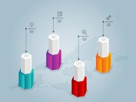 Resumo hexágono stick infográficos, 4 etapas com modelo de ícone para negócios e apresentação