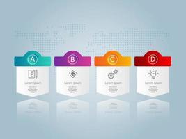 infográficos abstratos de linha do tempo horizontal, 4 etapas com modelo de mapa mundial para negócios e apresentação