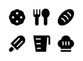 conjunto simples de ícones sólidos de vetor relacionados com comida e bebida