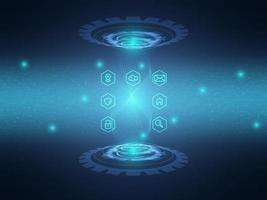 fundo de tecnologia de circuito azul abstrato com ícone de comunicação de dados