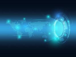 tecnologia futurista abstrata azul com mapa-múndi