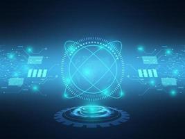 transferência de dados de fundo de tecnologia futurista azul abstrato com circuito