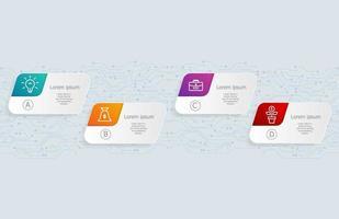 infográficos abstratos de placa de circuito horizontal, 4 etapas para apresentação