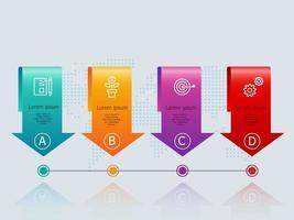 infográficos abstratos de banner de seta horizontal com ícones de negócios