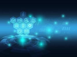 fundo de tecnologia futurista azul abstrato com ícone de negócios