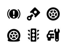 conjunto simples de ícones sólidos de vetor relacionados ao setor automotivo