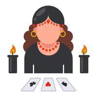 ícone de cartomante com cartas dispostas. prever o destino de uma pessoa. ilustração vetorial plana.
