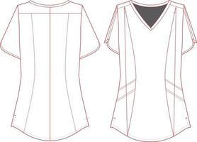 blusa moderna feminina decote em V vetor