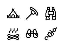 conjunto simples de ícones de linha de vetor relacionados a camping