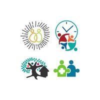 compromisso trabalho em equipe juntos conjunto de logotipo de ilustração de negócios vetor