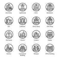 ícones de edifícios modernos vetor