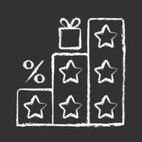 mais pontos e recompensas ícone de giz branco sobre fundo preto vetor