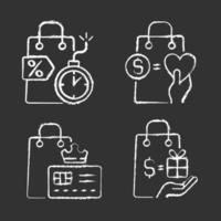 compradores de presentes e prêmios especiais desenham ícones brancos com giz em fundo preto vetor