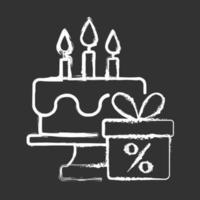 ícone de giz branco de desconto de aniversário em fundo preto vetor