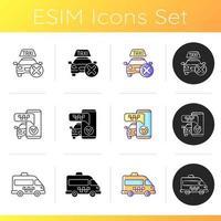 conjunto de ícones de serviço de táxi moderno vetor