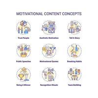 conjunto de ícones de conceito de conteúdo motivacional vetor