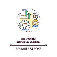 ícone do conceito de motivação de trabalhadores individuais vetor