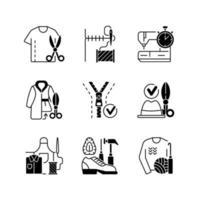 conjunto de ícones lineares pretos de costura vetor