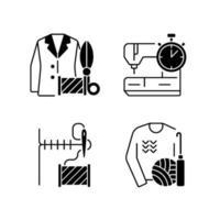 conjunto de ícones lineares pretos para serviços de conserto de roupas vetor