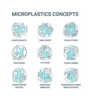 conjunto de ícones de conceito de microplásticos vetor