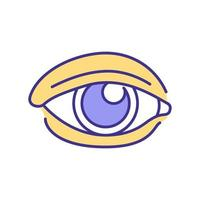 ícone de cor rgb de olho humano vetor
