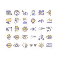 conjunto de ícones de cores rgb de saúde ocular vetor