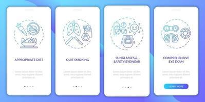 dicas de saúde ocular integrando a tela da página do aplicativo móvel com conceitos vetor