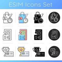 conjunto de ícones de reembolso e redução de custos