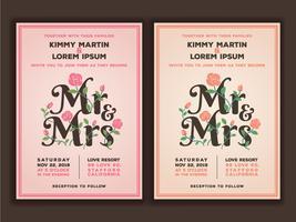 Senhor e senhora título com modelo de convites de casamento de flor. pêssego vetor