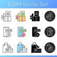conjunto de ícones de descontos e cashback de compra