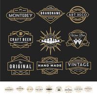 Conjunto de logotipo distintivo retrô para produto vintage e negócios como vetor