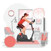 mulher andando de bicicleta ergométrica com tecnologia vr vetor