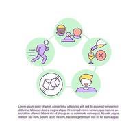 ícone de conceito de estilo de vida saudável com texto vetor